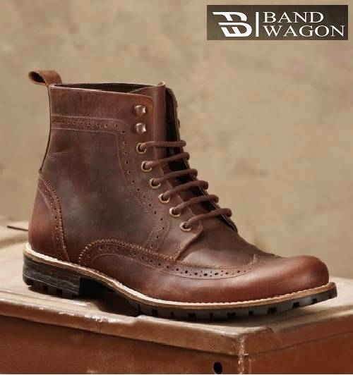 mens gents brown leather brogue lace up casual smart
