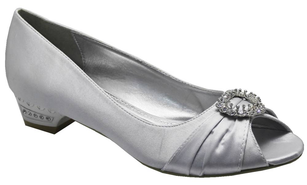 LADIES SILVER SATIN DIAMANTE EVENING PARTY WEDDING PEEP TOE LOW HEELS SHOES 3 8