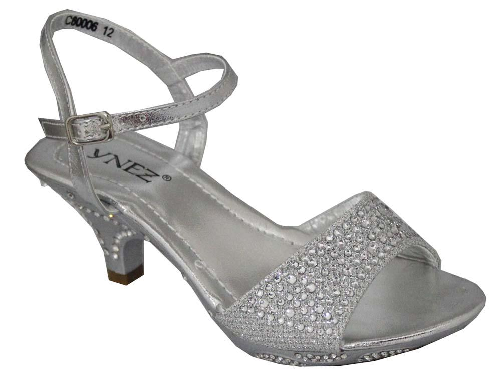 NEW GIRLS LOW HEEL SILVER BRIDESMAID WEDDING PARTY SANDALS SHOES SIZES 10 2