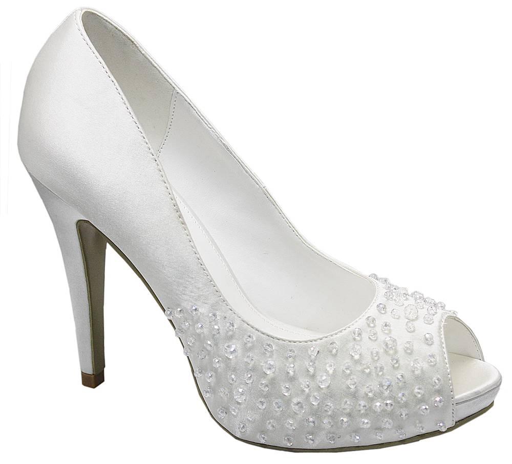 women 39 s ladies ivory evening bridal wedding prom peep toe. Black Bedroom Furniture Sets. Home Design Ideas
