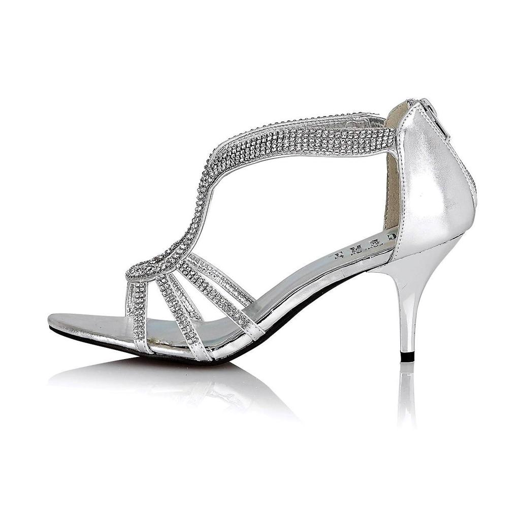 Black sandals mid heel uk - Womens Ladies Wedding Evening Party Prom Shoes Mid Heel Diamante Sandals 3 8 Uk