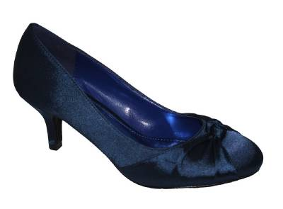 new satin low heel evening prom shoes navy purple