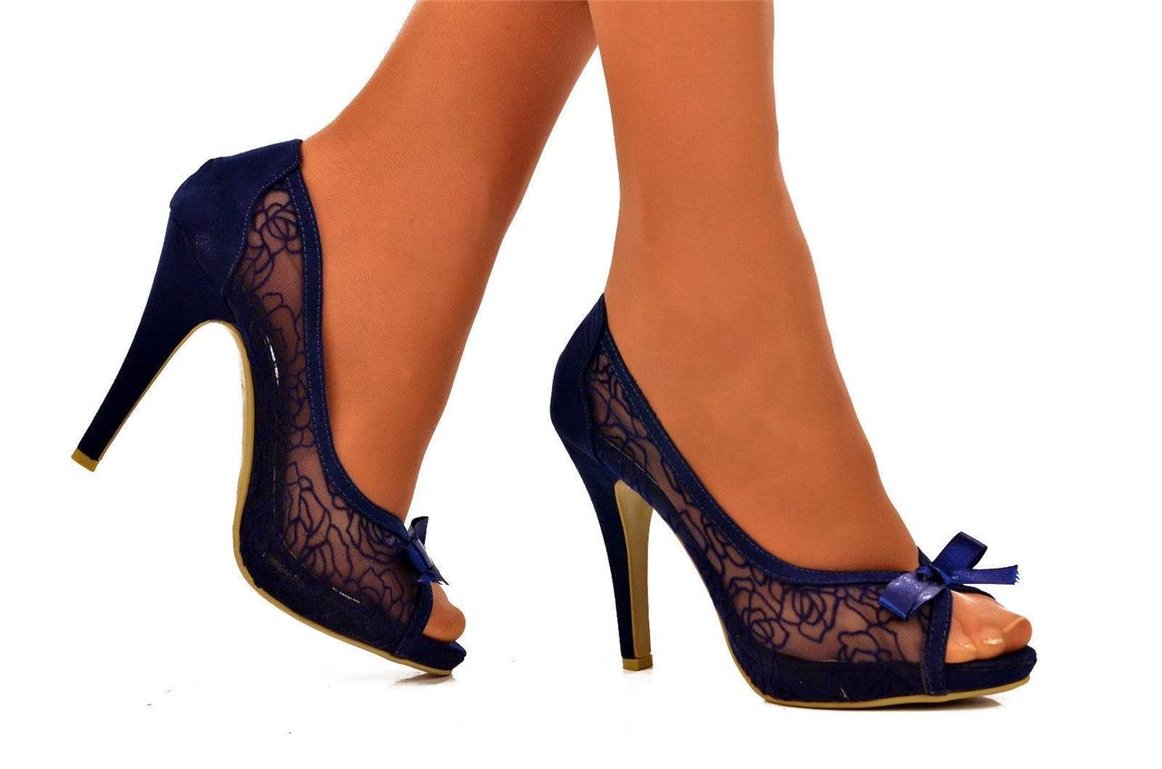 Navy blue evening shoes. Shoes online