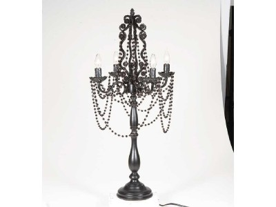 Vintage French Black Chandelier Style Table Lamp W Draped
