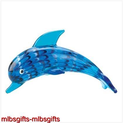 Art-Glass-Glassblowing-Blue-Ocean-Dolphin-Figurine-New