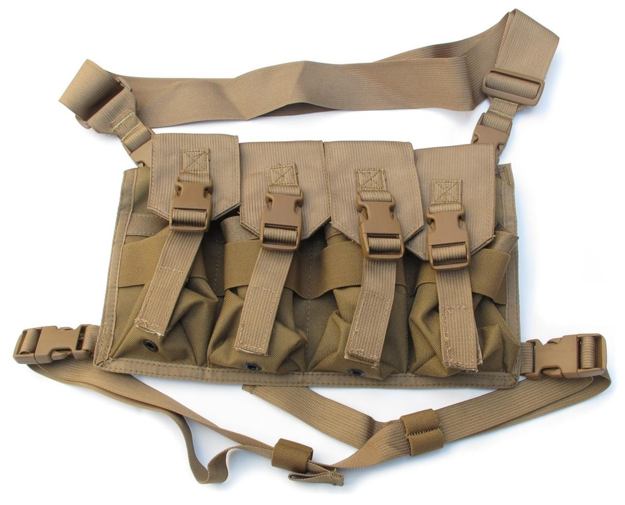 Tactical-Shooters-8x-30rd-Magazine-Bag-Chest-Rig-Tan-1000D-Cordura-Nylon-USA