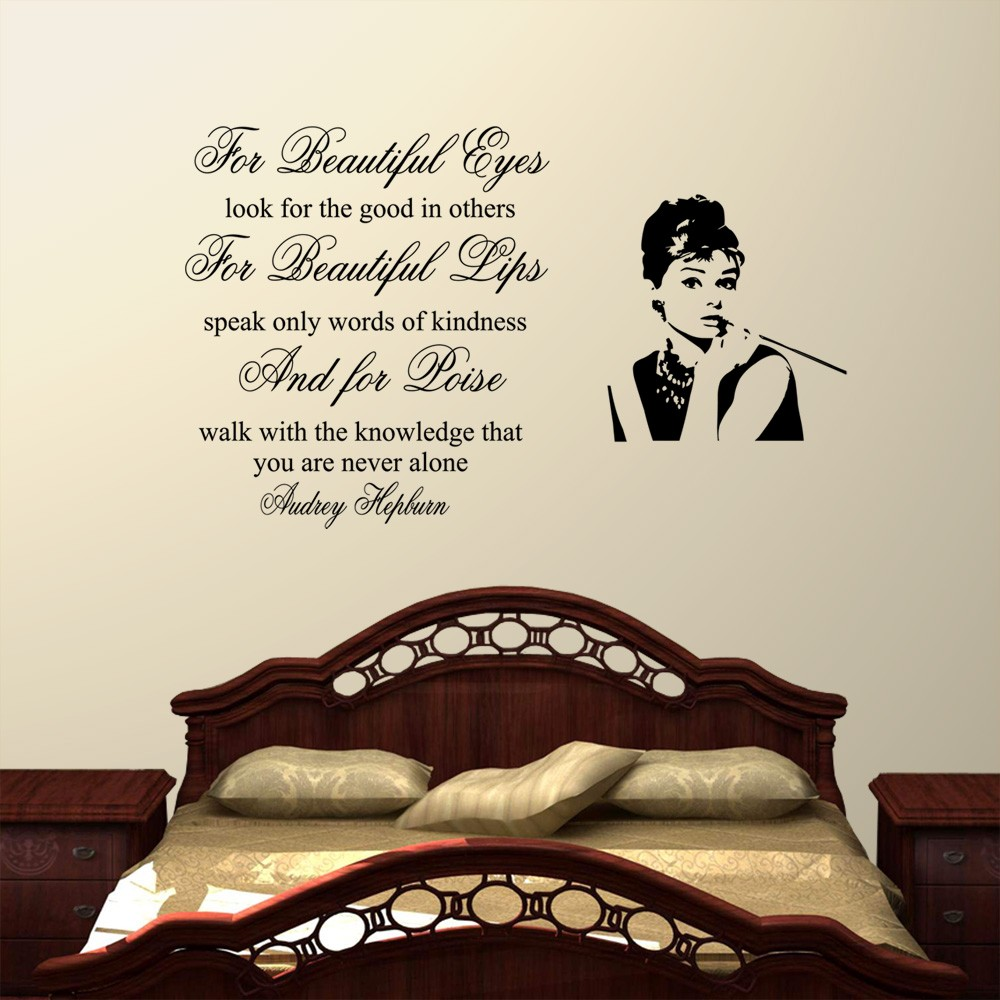 beauiful eyes audrey hepburn wall decal sticker quote lounge bedroom.  Beauiful Eyes Audrey Hepburn Wall Decal Sticker Quote Lounge Bedroom.