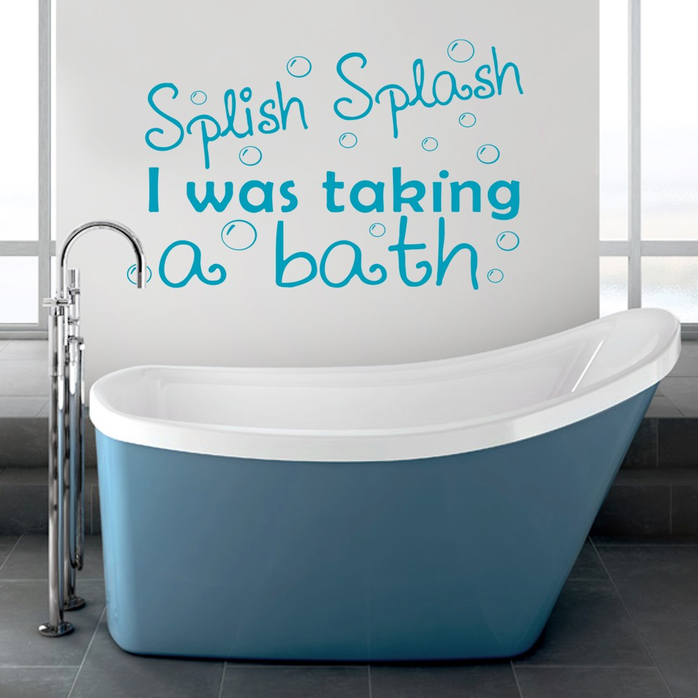 splish splash i was taking a bath wall decal sticker quote bathroom shower ebay. Black Bedroom Furniture Sets. Home Design Ideas