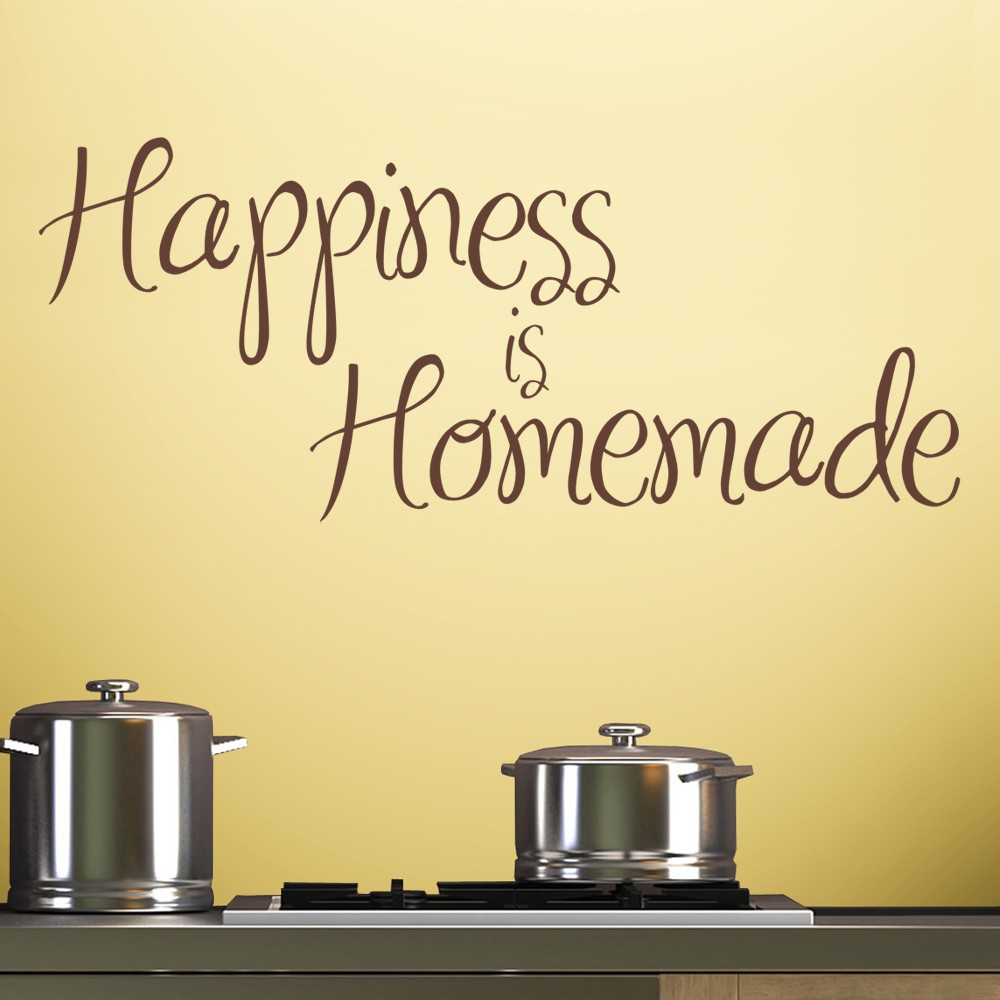 Happiness is homemade wall decal quote sticker lounge for Dining room quote decals