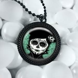 Dia De Los Muertos Day of the Dead Girl Black Pendant Necklace RFB 294