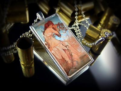 Art Nouveau Art Deco Vintage Beauty Glamour Sterling Silver Necklace
