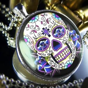 Large Dia De Los Muertos Dead Tattoo Skull Sterling Silver Necklace 65