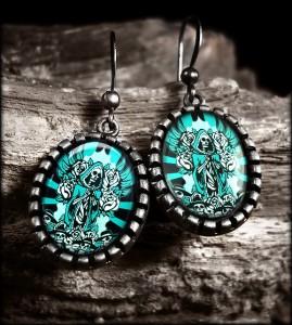 De Los Muertos Guadalupe Skull Silver Glass Earrings 131 OES