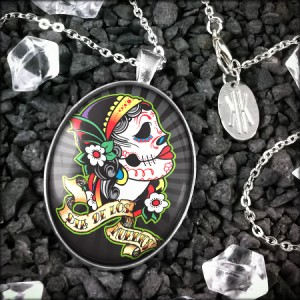 Large Day of the Dead Girl Muertos Sugar Skull Sterling Silver