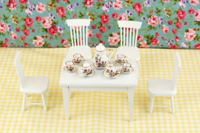 Kitchen Table Chair Sets on Dollhouse Miniature Dining Room Kitchen Table Chair Set   Ebay