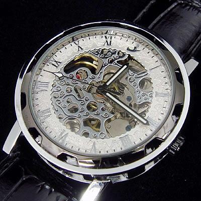 100% новый муёские наручные часы automatic механическое движение, само- обмотки видеть- через скелет дизайн