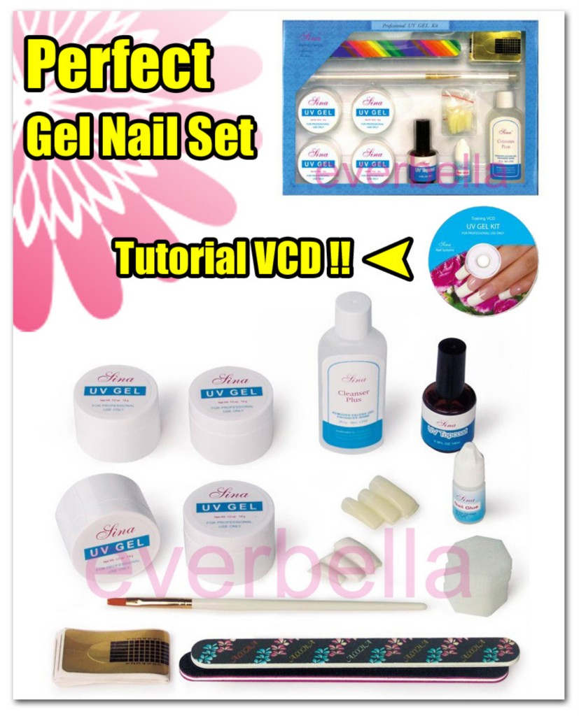 nail art uv gel nail french nail diy set kit w tutorial everbella. Black Bedroom Furniture Sets. Home Design Ideas