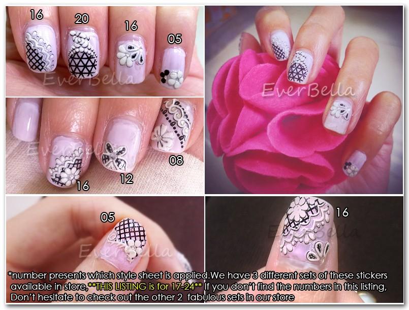 8 Sheets 3d Nail Art Design Stickers Decal 54154 17 24 Everbella