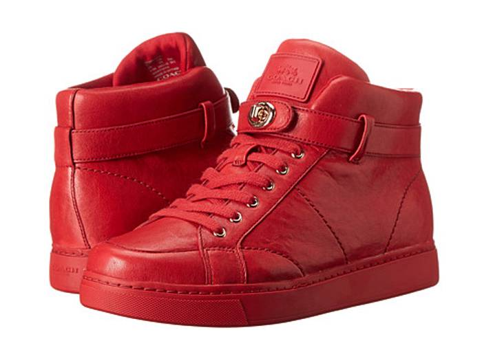 coach ryderson womens fashion sneakers red washed tumbled