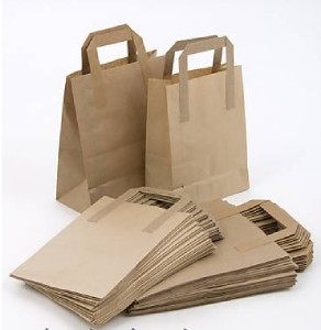 """100 Brown Paper Carrier Takeaway Bags Small 9""""x7""""x3.5"""""""