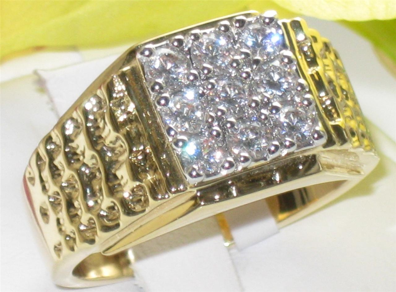 Z2W062PB-MANS-SIMULATED-DIAMOND-9STONE-3-5CT-MENS-RING-ALL-SIZES-SIGNET-PINKY