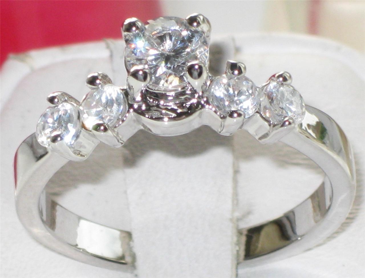 LADIES-5STONE-2-24CT-PRETTY-SIMULATED-DIAMOND-RING-PLATINUM-PLATED-R2201