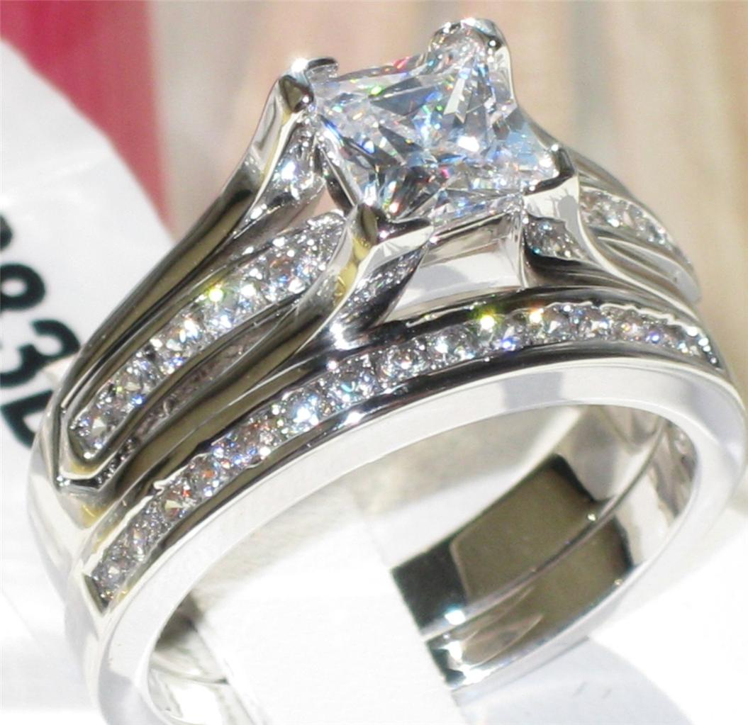 p0w383 princess cut wedding band engagement ring set With simulated diamond wedding ring sets