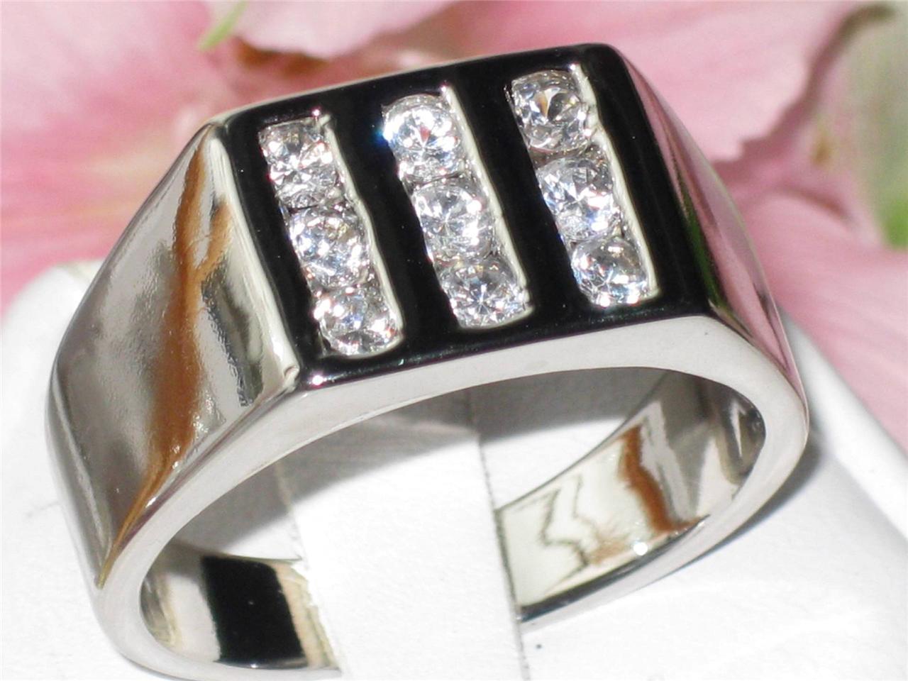 MENS-DESIGNER-MANS-RING-9-STONE-PAVE-SET-SIMULATED-DIAMOND-RING-M103