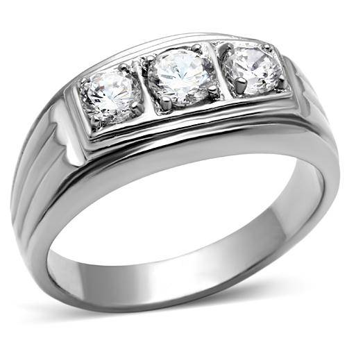 TK946PB-CZ-AAA-GRADE-CUBIC-ZIRCONIA-MENS-RING-STAINLESS-STEEL-MANS-3STONE