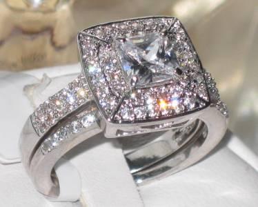 ... BAGUE FIANÇAILLES IMITATION DIAMANT ANNEAU MARIAGE PRINCESSE  eBay