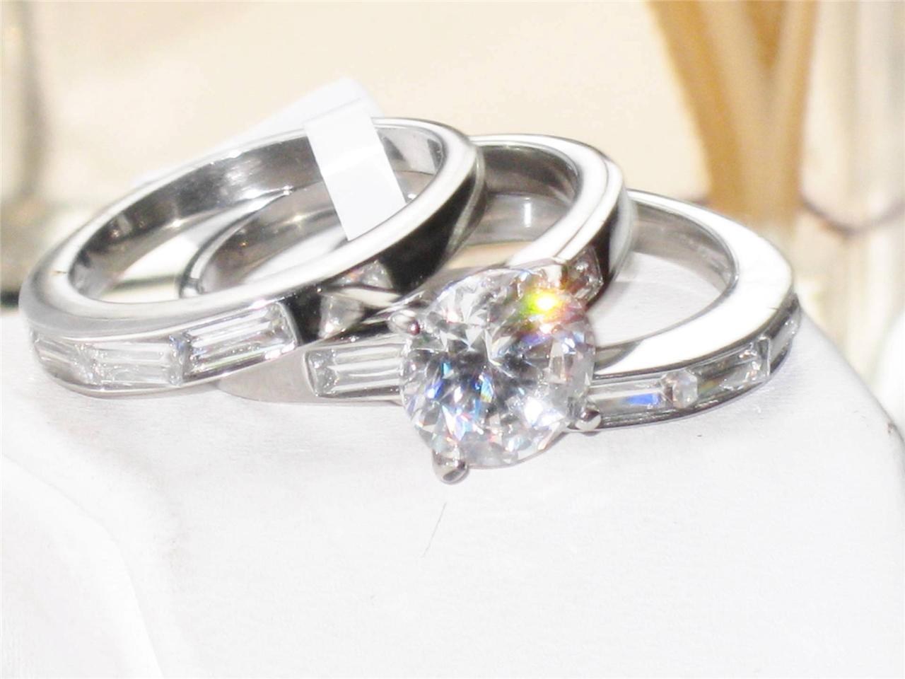 tk1436pb solitaire emerald cut 3pcs cubic zirconia wedding