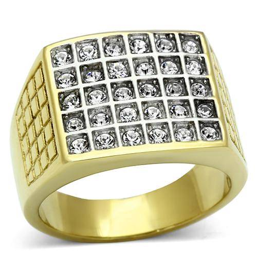 TK734PB-30STONE-MENS-SIGNET-SQUARE-RING-ROLLED-GOLD-18KTSIMULATED-DIAMOND