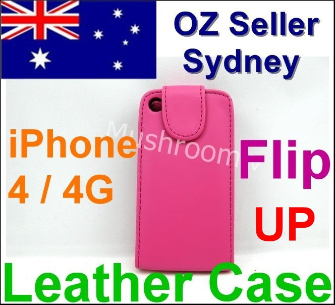 Hot-Pink-Flip-Leather-case-Pouch-hard-cover-iphone-4-4S-4G