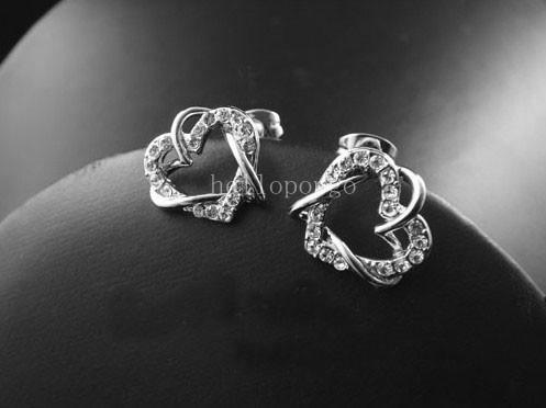 18K Ros Gold/White Gold GP Swarovski Crystal Heart Earrings 2 Colors