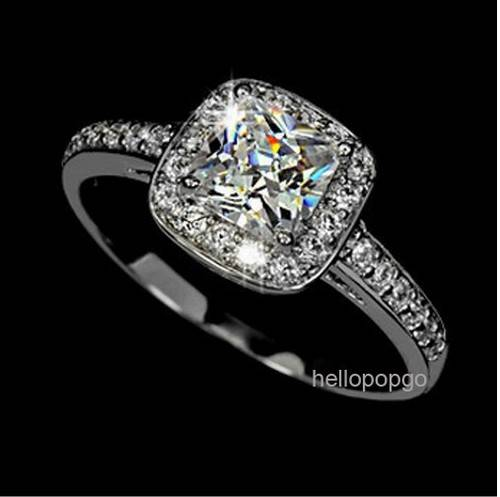 White Gold Gp Swarovski Crystal Engagement Wedding Ring AA130 EBay