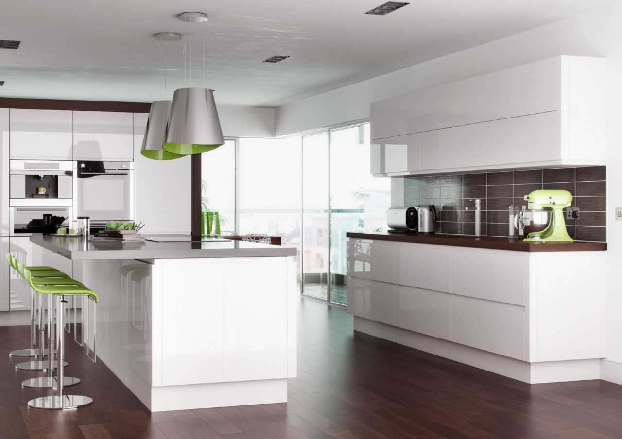 High Gloss White Handleless Replacement Kitchen Doors And
