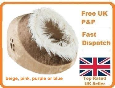 Deluxe cat or small dog cave bed furry plush like an igloo home in Pet Supplies, Cat Supplies, Furniture & Scratchers | eBay