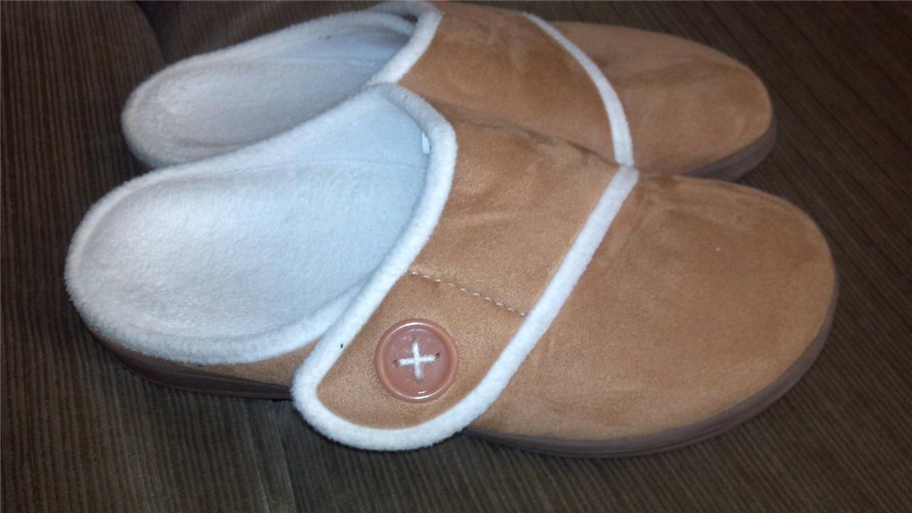 ORTHAHEEL-Shawn-Adjust-Velcro-Strap-Orthotic-Slippers-W-Button-Deco-Sz-5-11