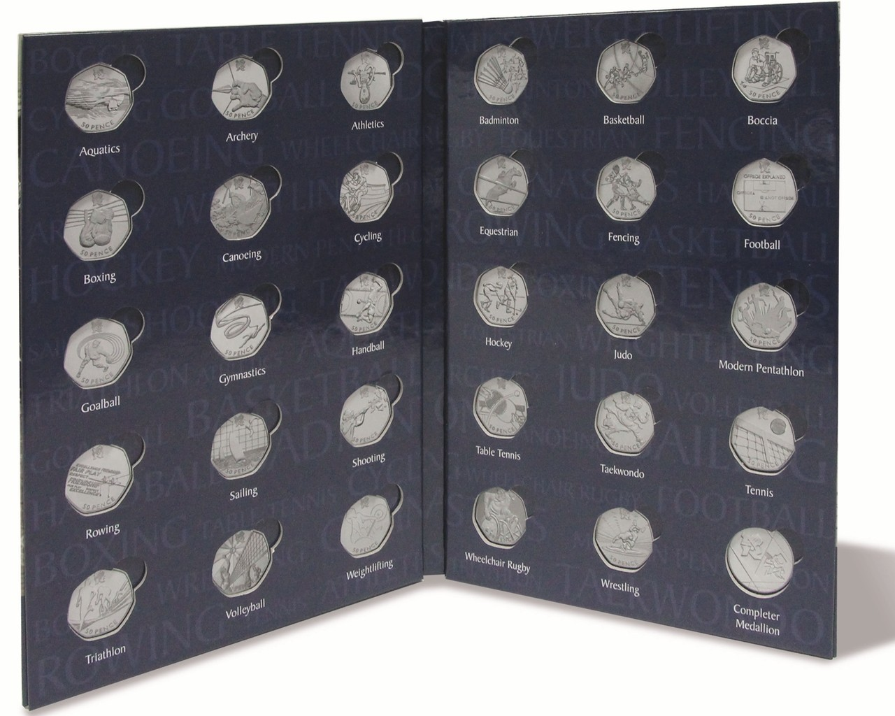 Olympic-50p-Sports-COIN-ALBUM-Folder-space4-Royal-Mint-Completer-Medallion-Medal