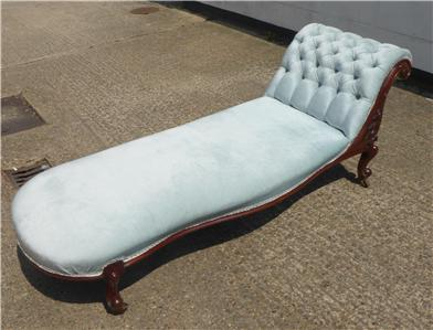 Victorian mahogany carved chaise lounge sofa with bolster for Carved chaise lounge