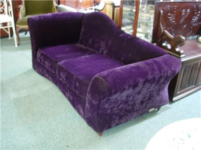 Purple brushed velvet chaise sofa for Purple sectional sofa chaise