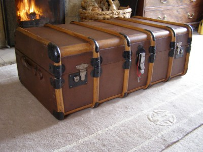 Antique Vintage Bound Steamer Trunk Suitcase Coffee Table Storage Luggage Ebay