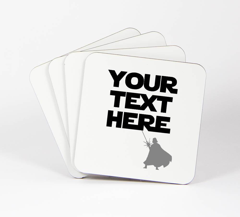 Star-Wars-Theme-Set-of-4-Drink-Coasters-Your-Text-Here-Customizable-91C