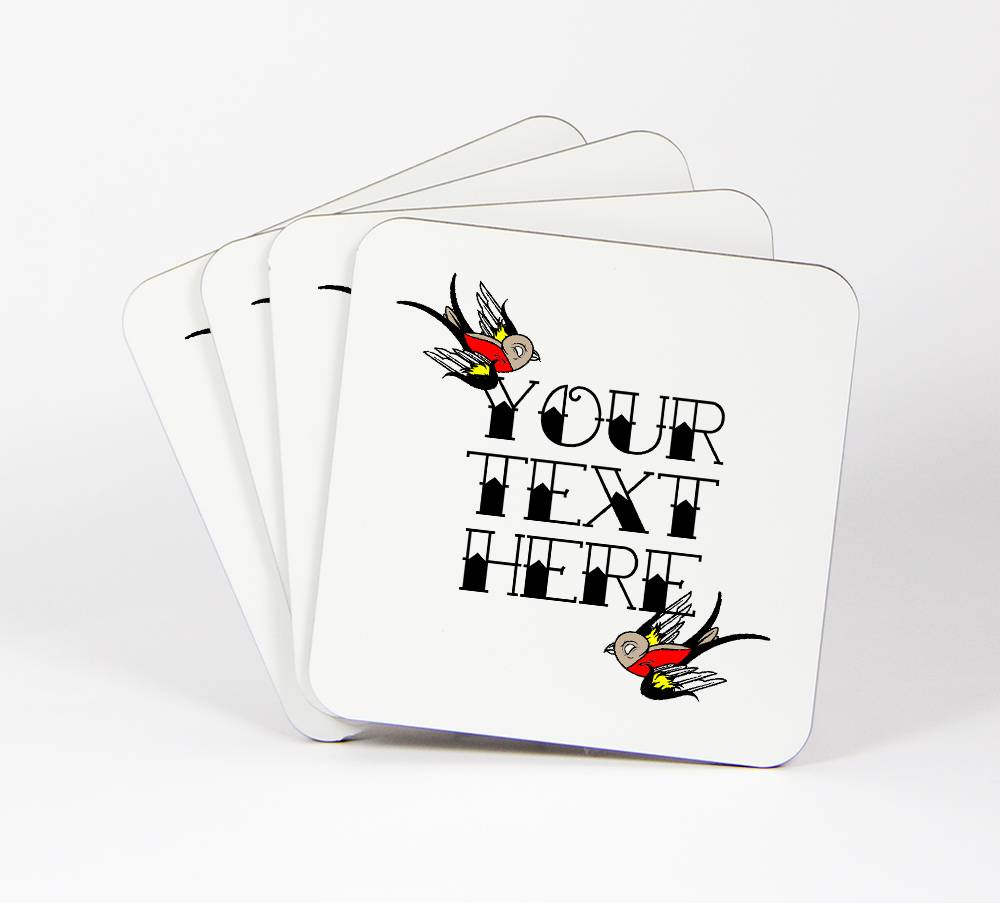 Swallow-Tattoo-Set-of-4-Drink-Coasters-Your-Text-Here-Customizable-92C