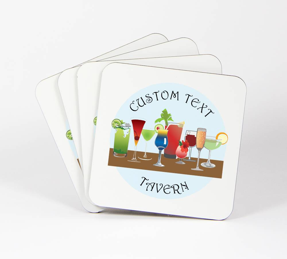 Cocktail-Hour-Set-of-4-Drink-Coasters-CUSTOM-Your-Text-Here-Tavern-94C