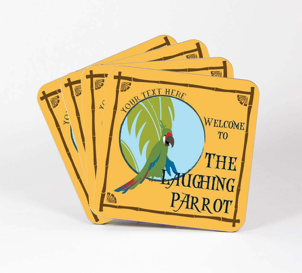Laughing-Parrot-Set-of-4-Drink-Coasters-CUSTOM-Your-Text-Here-Tiki-Bar-98C