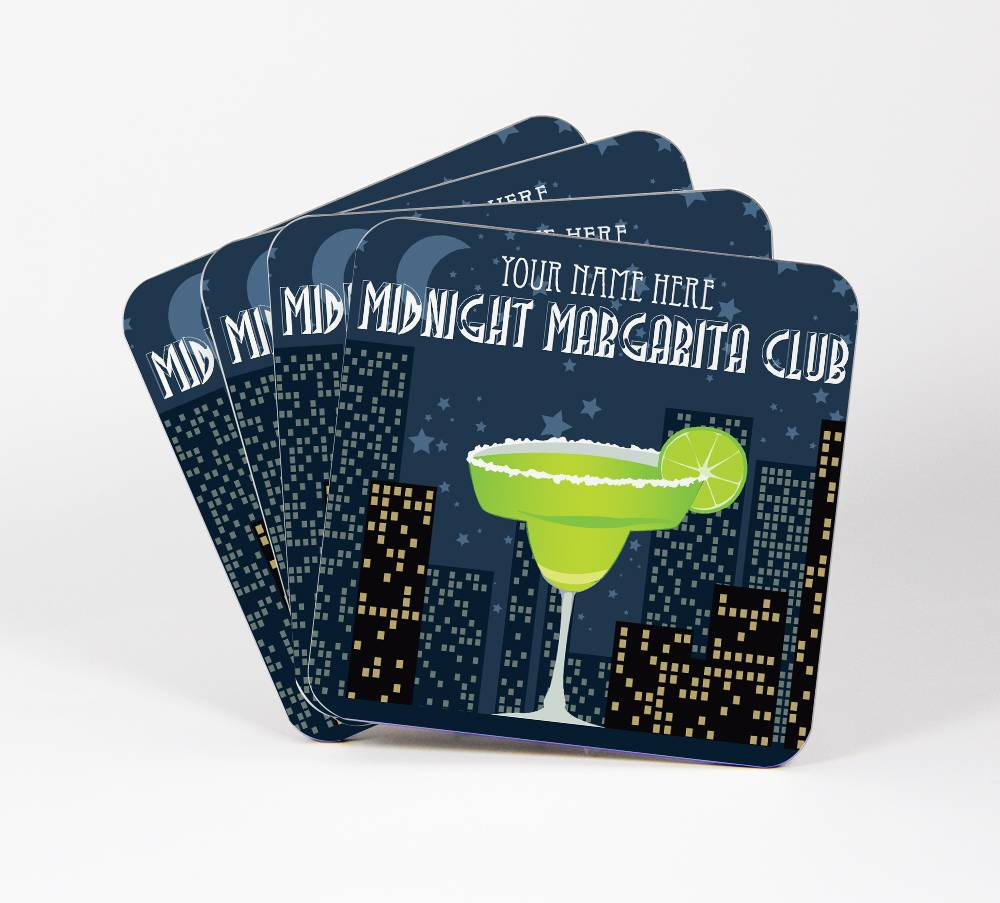 Midnight-Margarita-Club-Set-of-4-Drink-Coasters-CUSTOM-Your-Text-Here-99C