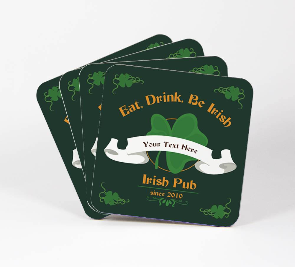 Irish-Pub-Set-of-4-Drink-Coasters-CUSTOM-Your-Text-Here-Shamrock-Bar-97C