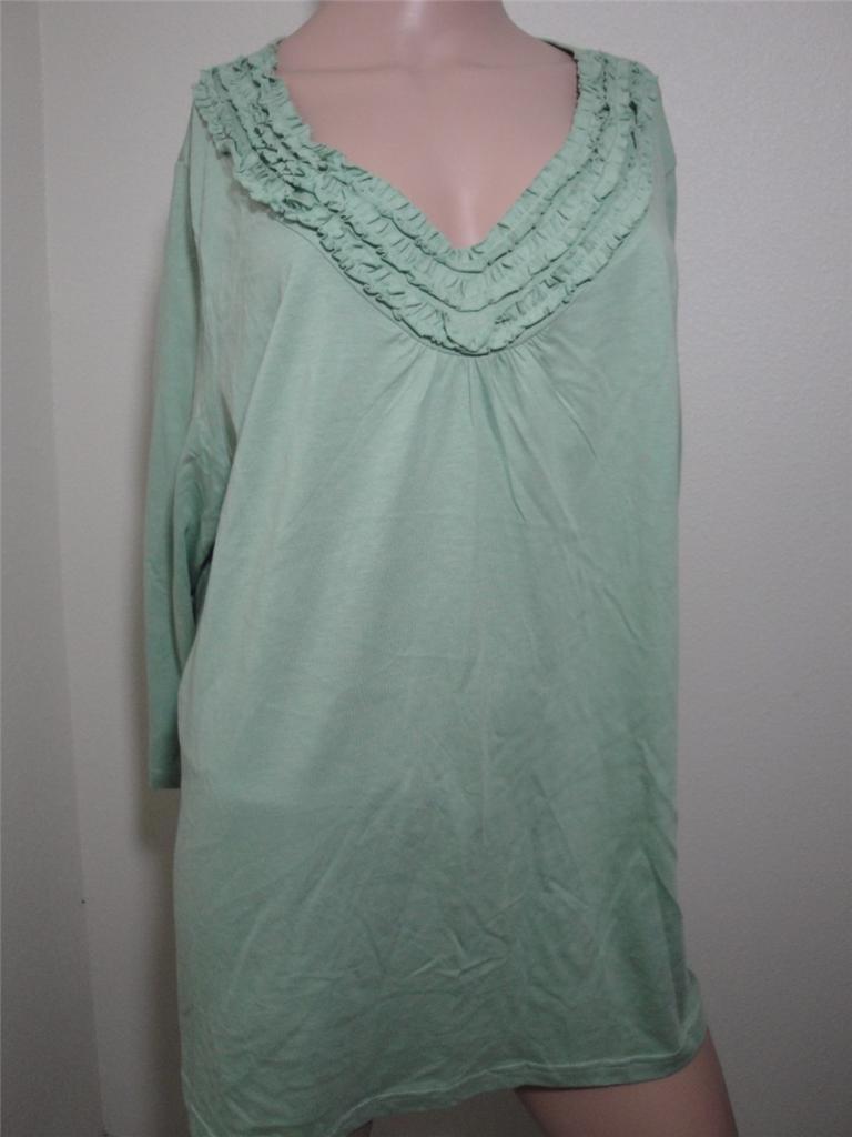 New karen scott woman plus size 3 4 sleeve ruffle neck tee for 3 4 sleeve t shirts plus size