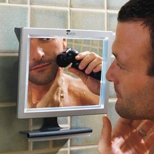 deluxe led fogless shower mirror with squeegee by toilettree products ebay. Black Bedroom Furniture Sets. Home Design Ideas
